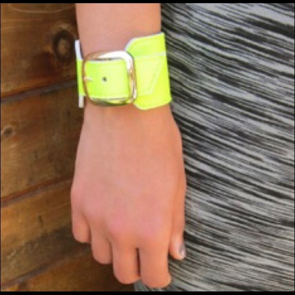 LAST- Neon Yellow Leather Buckle Cuff